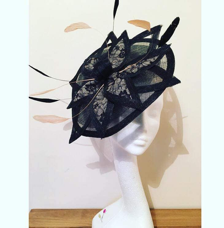Black and Nude Laced Saucer Fascinator