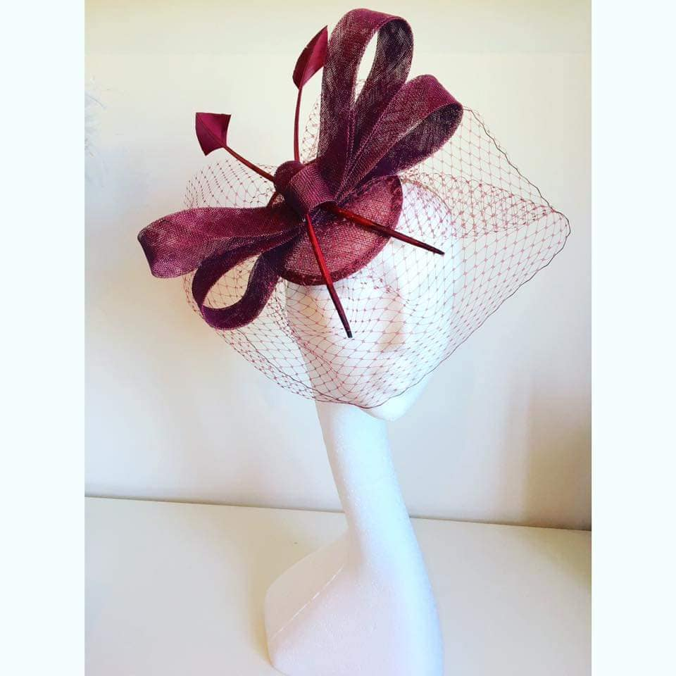 Burgundy Veiled Fascinator