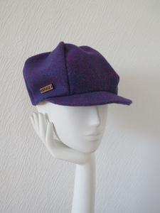 Purple patterned Harris Tweed Baker Boy Cap