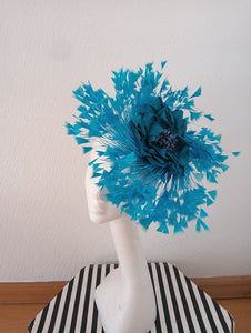 Bright Teal Silk Flower Feathered Fascinator