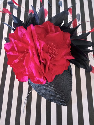 Navy and Fuchsia parasisal silk floral fascinator/ headpiece