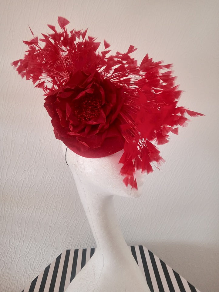 Red Felt feathered Mohawk fascinator
