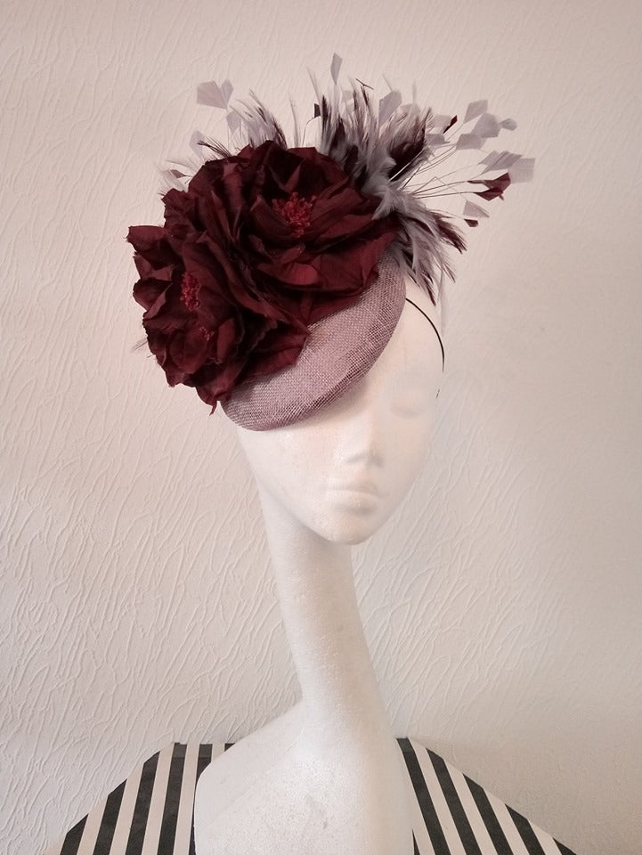 Grey and Burgundy Floral Button Fascinator