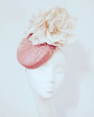 Pink leather fascinator/hatinator