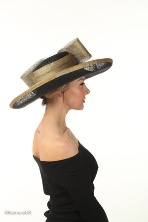 Black and Gold Large Wedding Hat