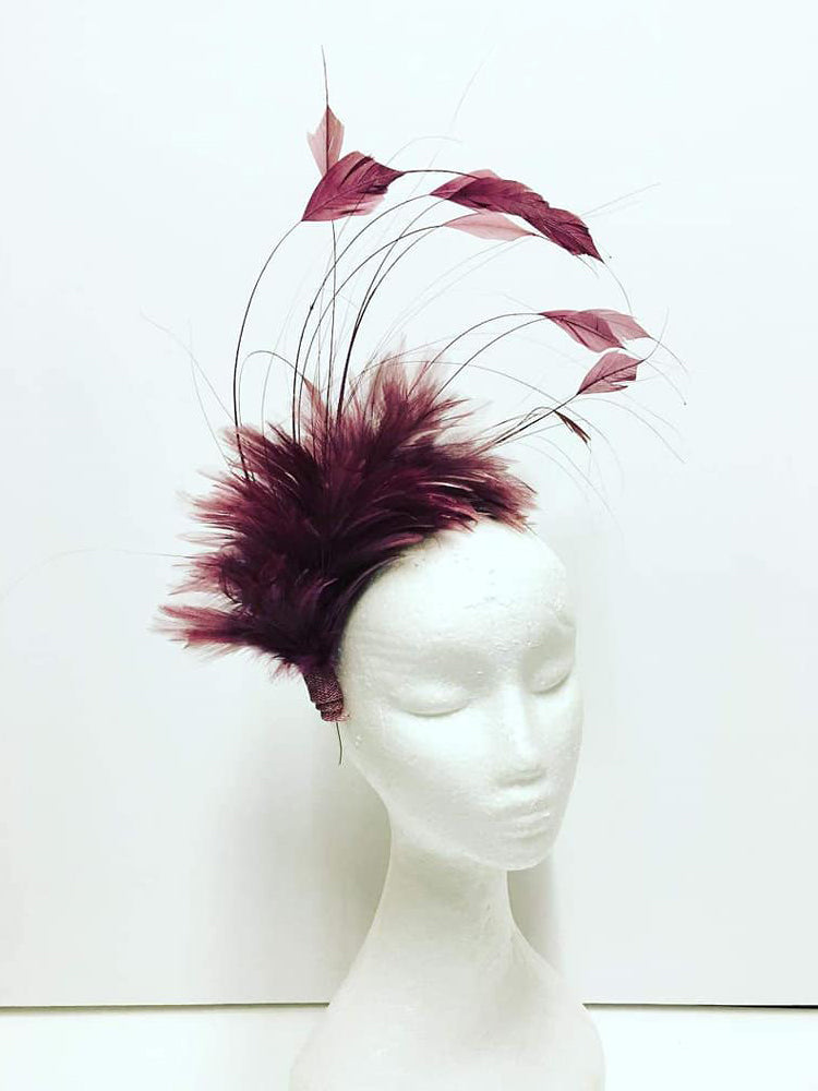 burgundy feather fascinator headpiece