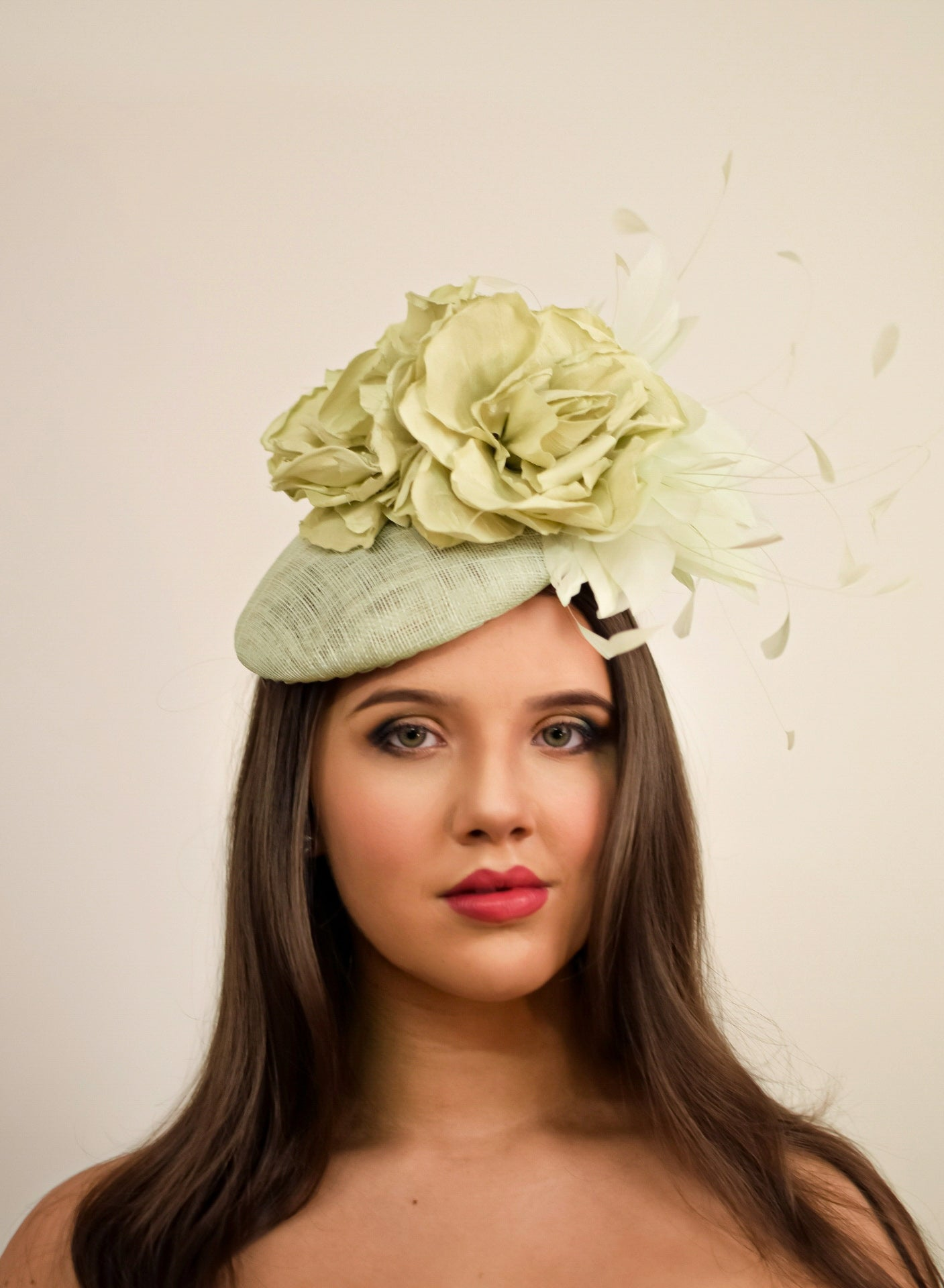 Mint Green Floral Feathered Button Fascinator