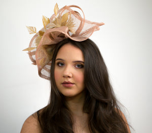 Nude Fascinator with feather flowers