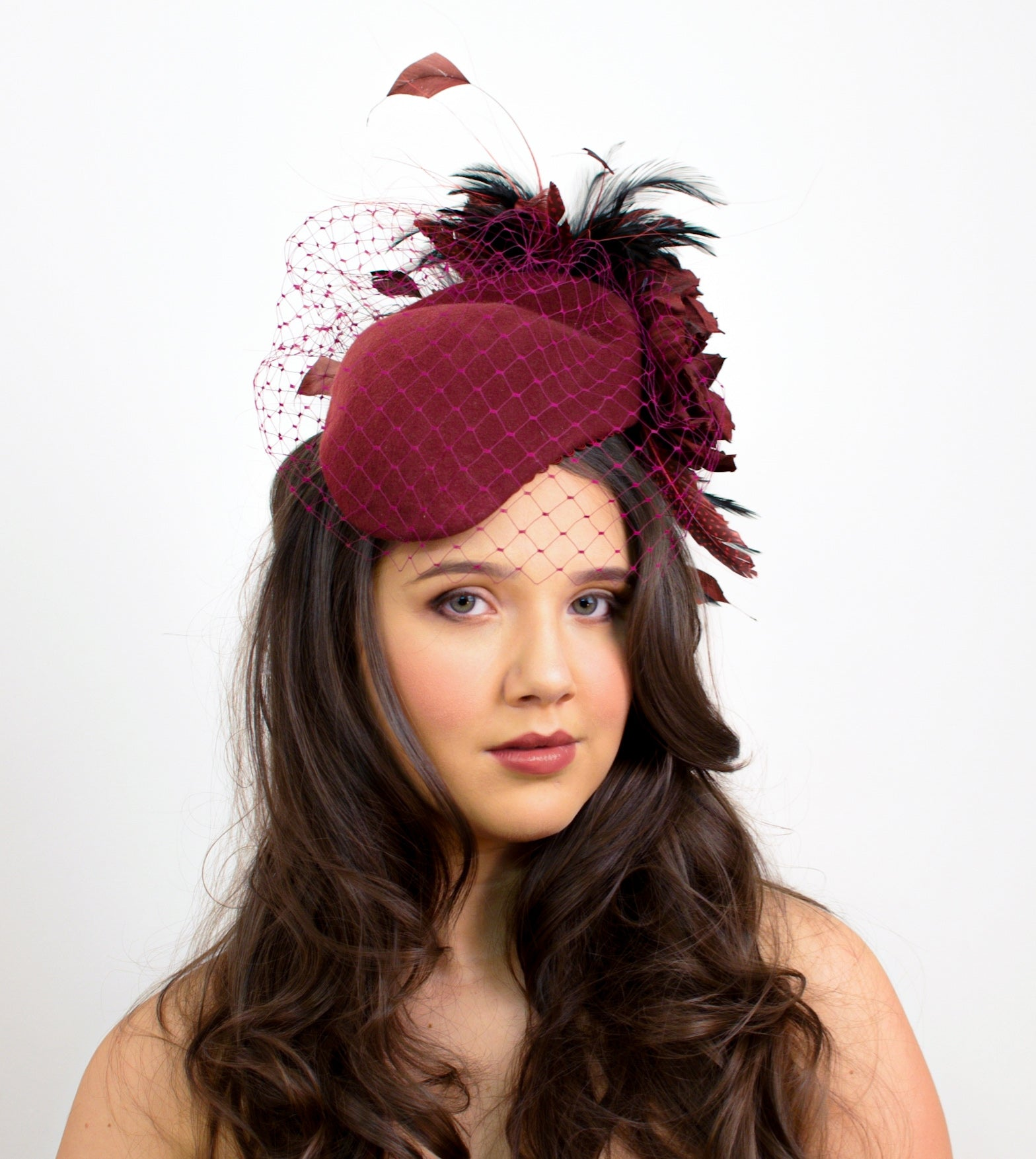 Cheltenham Burgundy Percher Fascinator