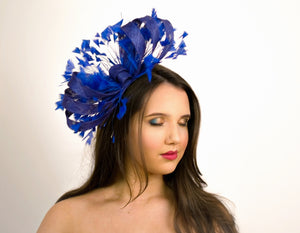 Royal Blue Feathery Looped Fascinator