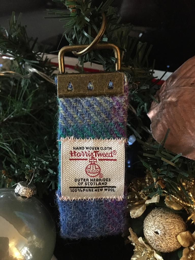Purple and Blue Tartan Harris Tweed Keyring