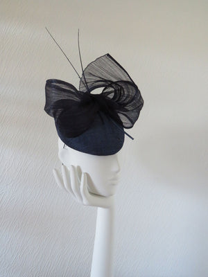 Navy Slanted Silk Abaca Pillbox/Cocktail Hat