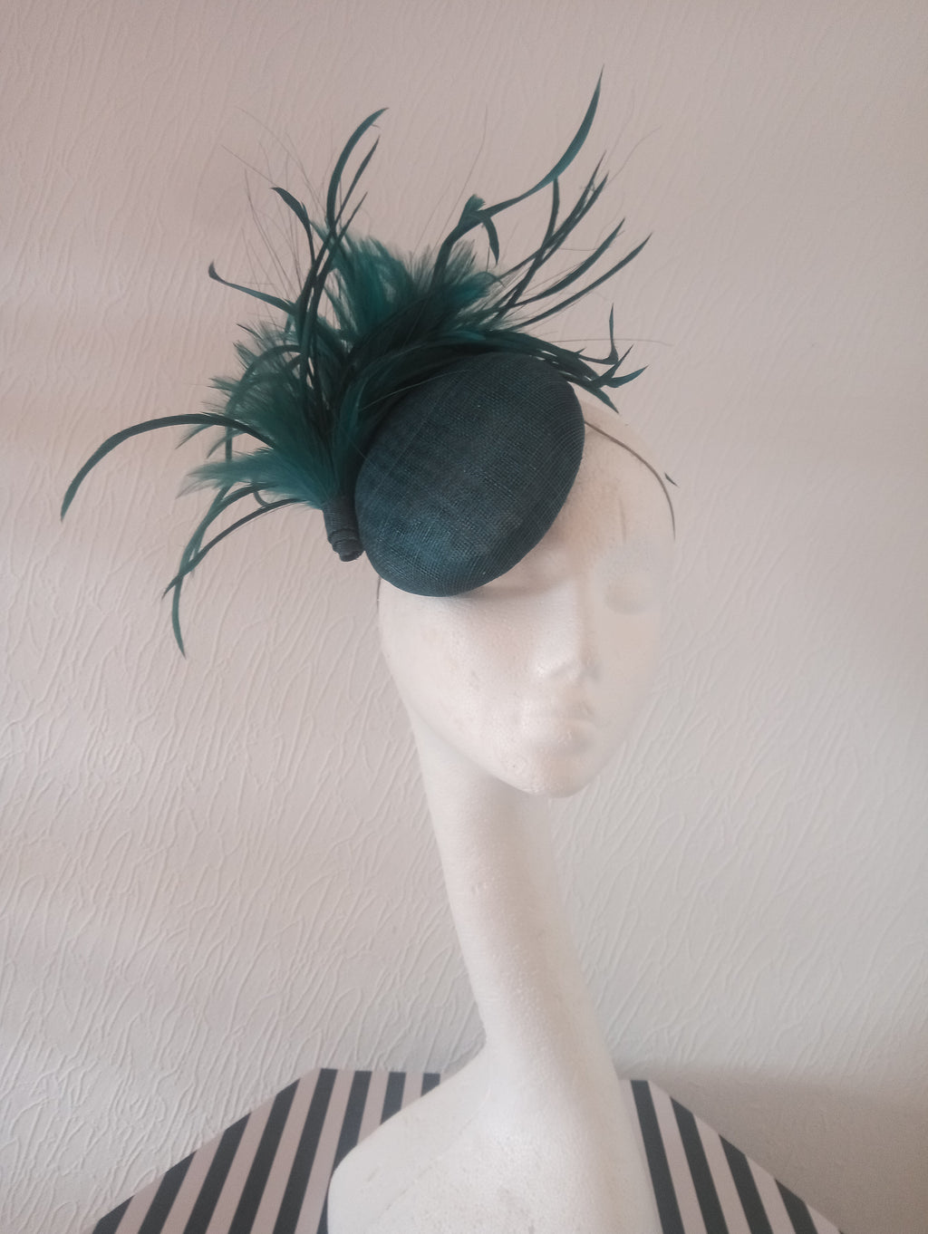 Teal Pillbox Fascinator