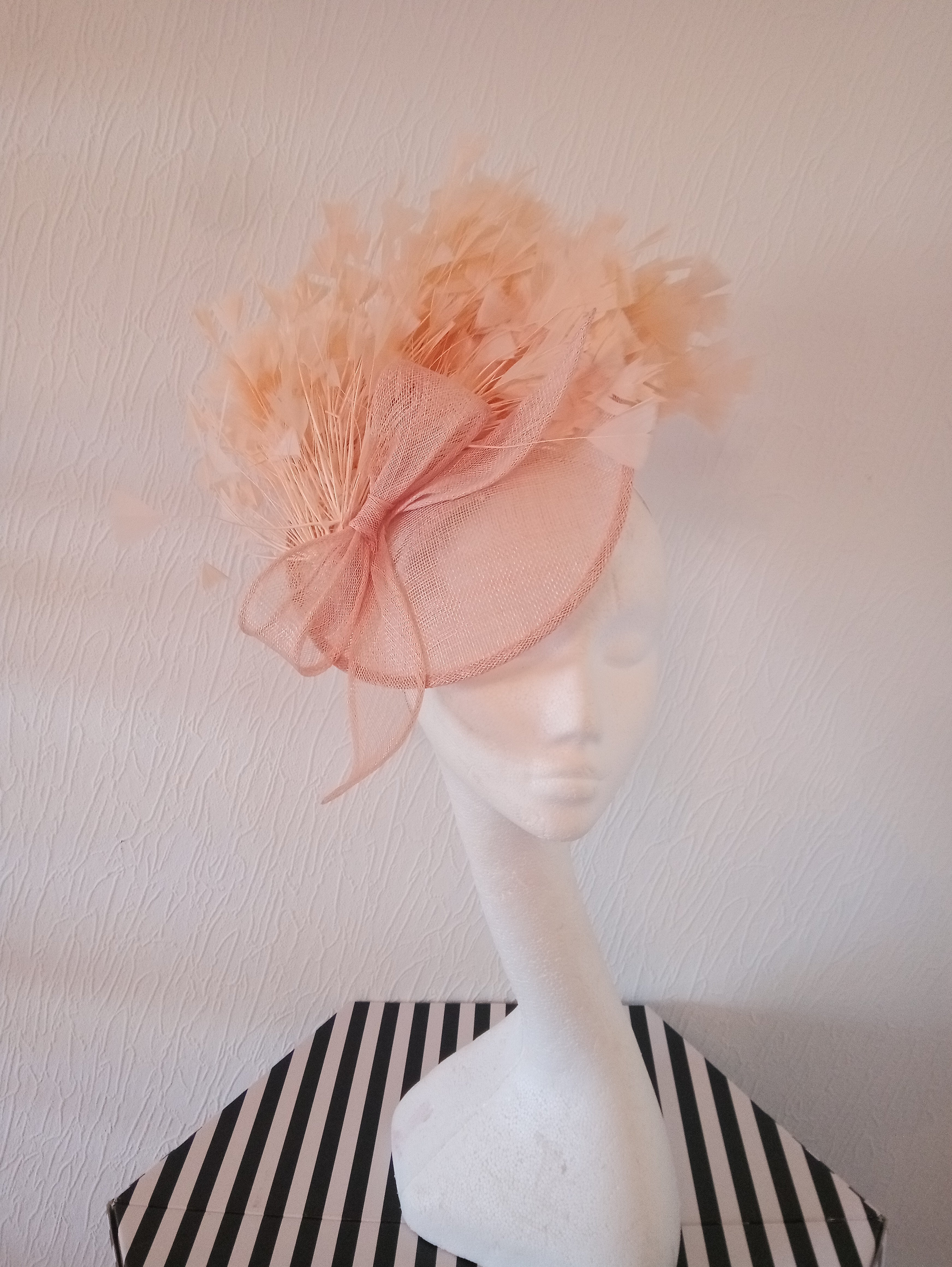 Peach Feathered Saucer Fascinator / Hatinator