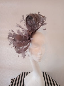 Grey Feathery Looped Fascinator