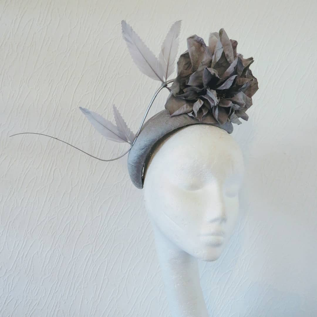 Grey/Silver Stemmed Flower Bandeau Fascinator