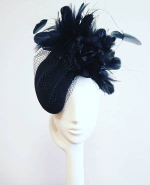 Cheltenham French Navy Felt Percher Headpiece / Fascinator
