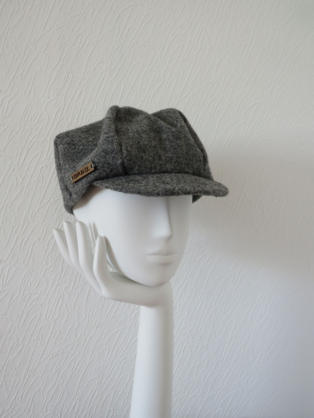 Grey Harris Tweed Baker Boy Cap