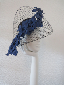Black and Royal Blue Veilled Brim Fascinator/ Hatinator.