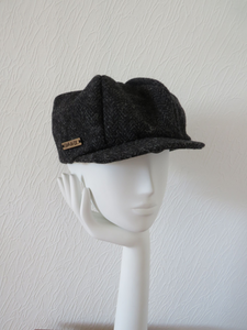 Black Speckled Harris Tweed Baker Boy Cap