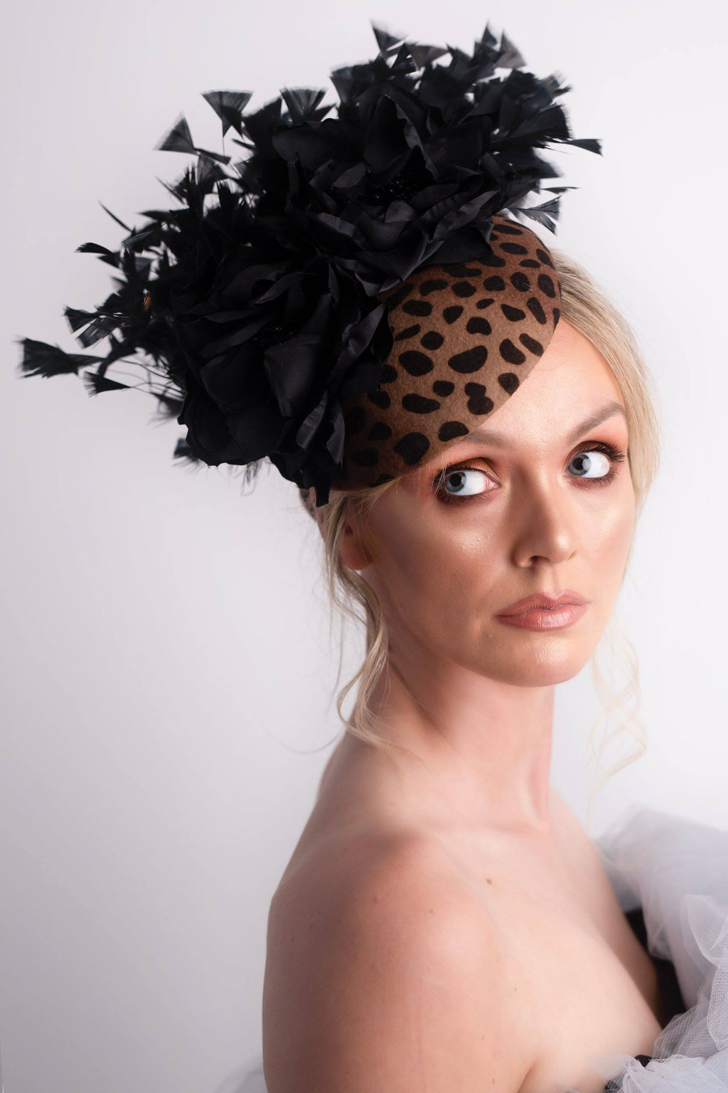 Black and Brown Felt Leopard Print Headpiece