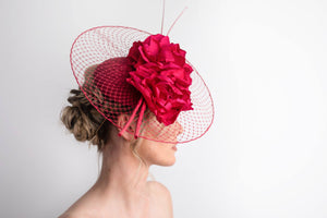 Fuchsia Pink Veiled Brim Fascinator
