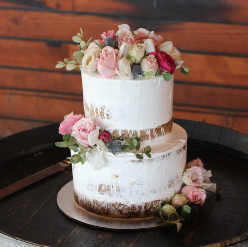 2 Tier Semi Naked with Scatted flowers