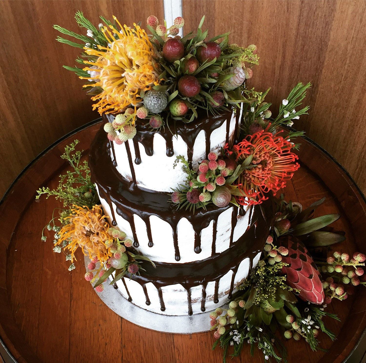 3 Tier Semi Naked, Drizzle and flowers