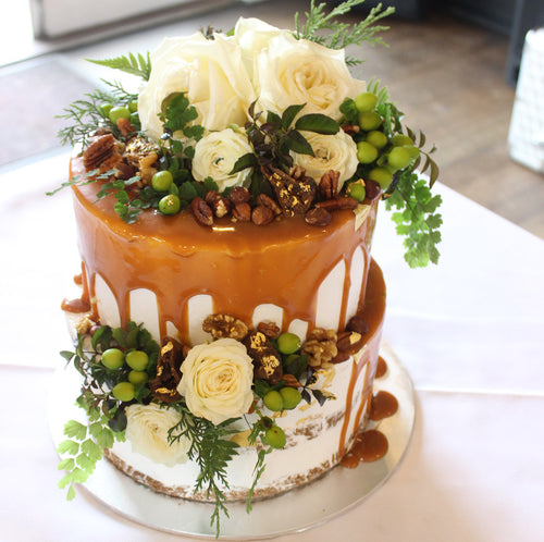 2 Tier Semi naked, Drizzle and flowers