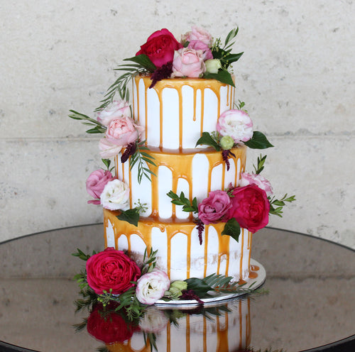 3 Tier Semi Naked, Caramel Drizzle and flowers