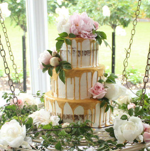 3 Tier Semi Naked, Metallic Drizzle and flowers