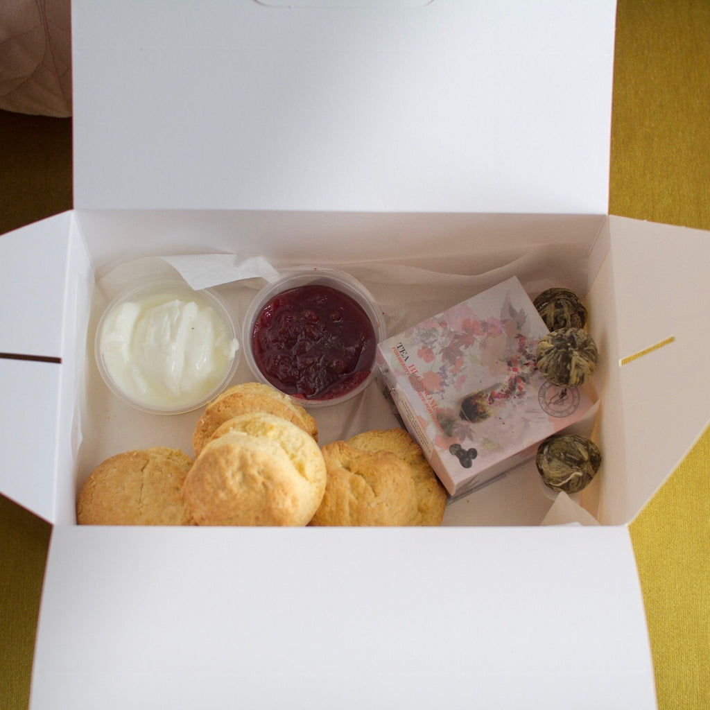 Devonshire Tea box and flowers
