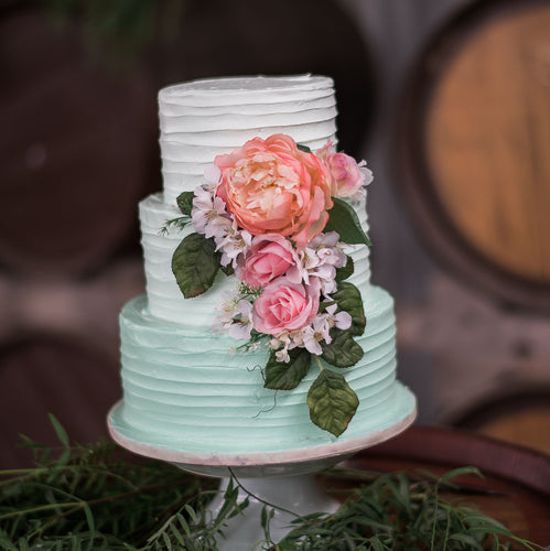 3 Tier Buttercream Ombre with flowers
