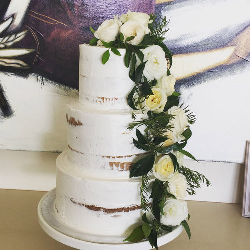 3 Tier Semi Naked with Cascading flowers