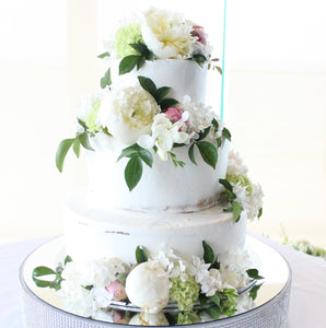 3 Tier Semi Naked with Scatted flowers