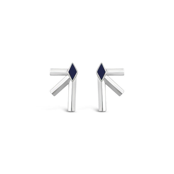 Silver & Lapis Bandit Earrings