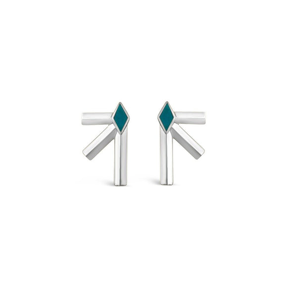 Silver & Turquoise Bandit Earrings