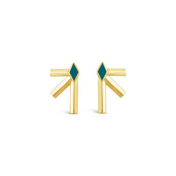 Gold & Turquoise Bandit Earrings
