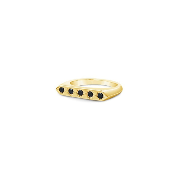 sierra winter gold vermeil black diamond constellation band ring