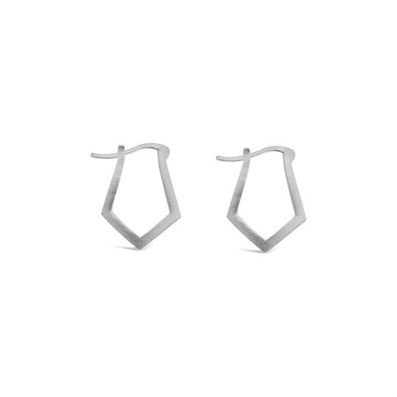 sterling silver angled hoop earrings