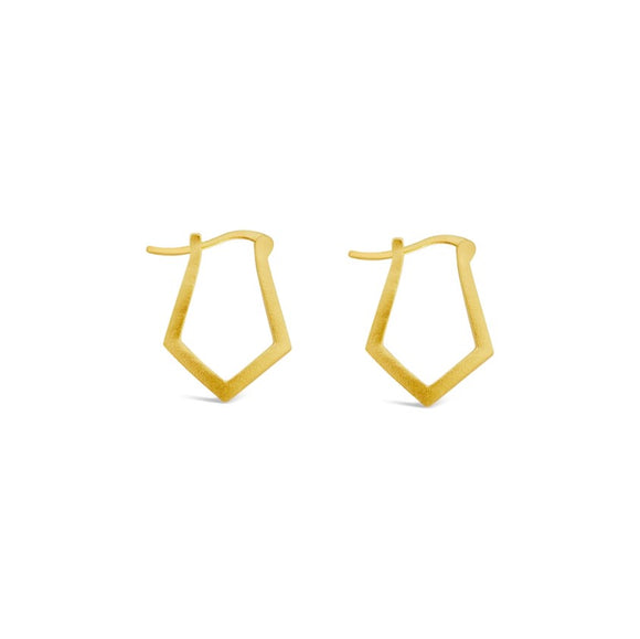 gold angled hoop earrings