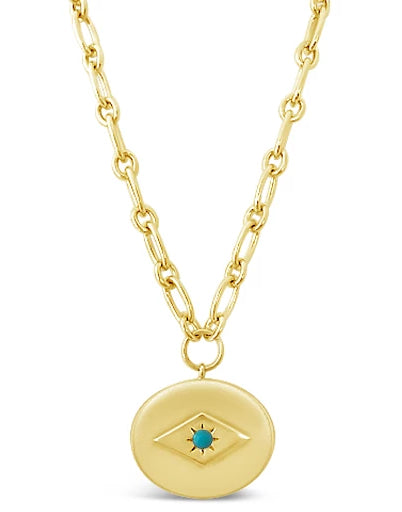 gold chain necklace with turquoise