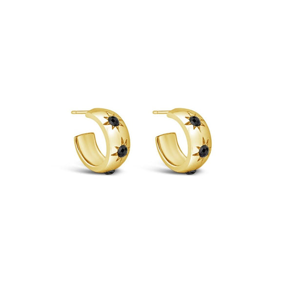 sierra winter gold and black spinel eve hoop earrings