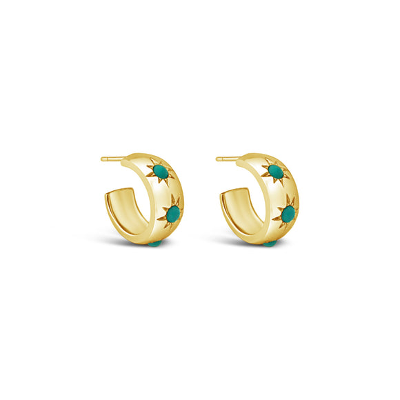 gold and turquoise thick small hoops