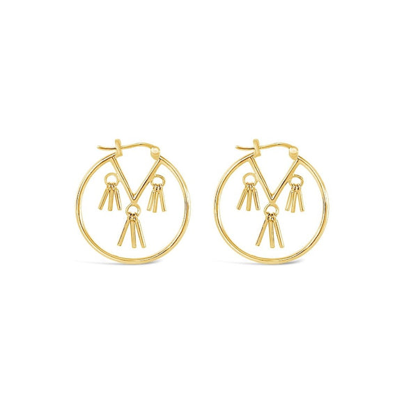 sierra winter gold vermeil honky tonk tassel hoop earrings