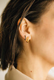 gold thick angled hoop earrings
