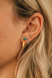 turquoise and gold earring stack