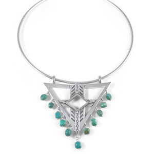 southwest silver and turquoise collar necklace