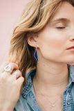 geometric lapis statement earrings