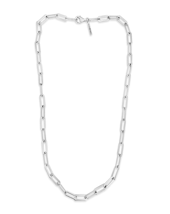 silver chain link hank necklace